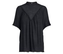 Kurzärmelige Rüschen Bluse schwarz