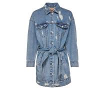 Lange Bindegürtel Jeansjacke blau
