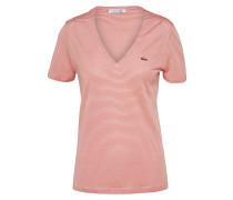 T-Shirt mit V-Ausschnitt creme / rot