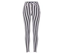 Jeans 'Tiffy 6437 button' grau / weiß