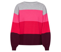 Pullover 'Pipe' grau / pink / rot