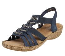 Sandale mit Perlen-Verzierung marine