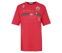 T-Shirt mit Strasssteinen rot