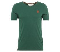 T-Shirt in Melange-Optik dunkelgrün