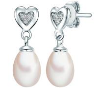 Perlen-Ohrstecker 'Herz' mit Süßwasser-Zuchtperlen