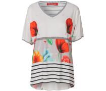 T-Shirt grau / rot / weiß