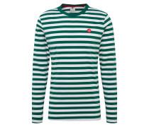 Shirt 'Kani' dunkelgrün / weiß