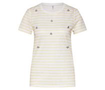 T-Shirt 'mandy' gelb / weiß
