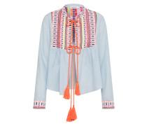 Bluse hellblau / orange