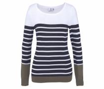 Streifenpullover marine / khaki / weiß
