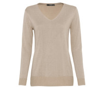 Long-Pullover mit Lurexgarn kitt / beige