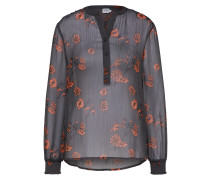Bluse basaltgrau / orangerot
