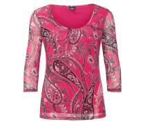 Mesh-Shirt mit Raffung pink