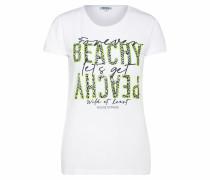 T-Shirt weiß / grün / dunkelblau