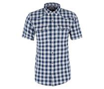 Kurzarmhemd dunkelblau / weiß
