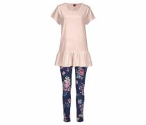 Bodywear Pyjama mit Shirt mit Schößchen und geblümter Leggings
