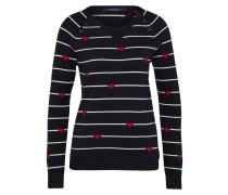 Pullover navy / rot / weiß