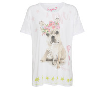 T-Shirt 'dog flower' weiß