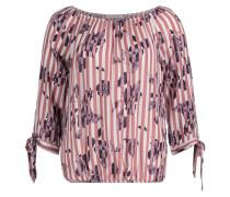 Bluse violettblau / rosé / weiß