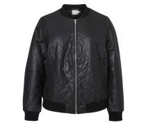 Leder Blouson-Jacke schwarz