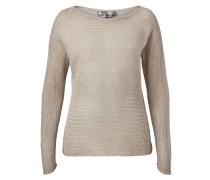 Transparenter Lurex-Pullover beige
