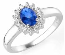 Silberring royalblau / silber / weiß