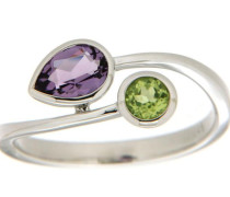 jewels Goldring grün / lila / silber