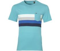 T-Shirt 'horizont' blau / türkis / weiß