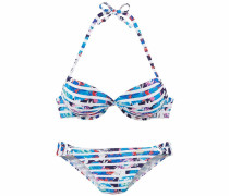 Push-up-Bikini blau / pink / weiß