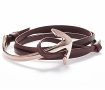 Wickelarmband 'Anchor leather brown 1291'