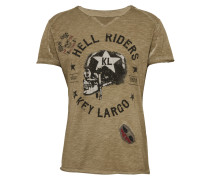 T-Shirt 'Hell Riders' khaki / schwarz