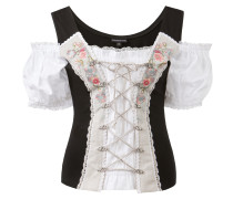 Shirt 'Pepita' schwarz / weiß