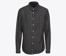 Hemd 'pinstripe Shirt' schwarz / weiß