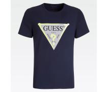 Shirt nachtblau / grau / gelb