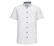 Kurzarmhemd 'Shirt' grau / weiß