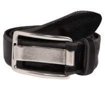 Ledergürtel mit Rochen-Prägung schwarz