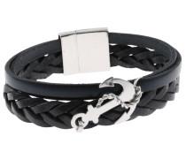 Lederarmband »Anker« schwarz / silber