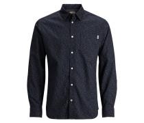 Langarmhemd Mikroprint blau / weiß