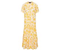 Kleid 'objbea S/S Dress' gelb / weiß