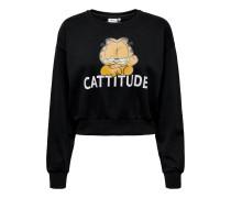 Sweatshirt 'Garfield' orange / schwarz / weiß