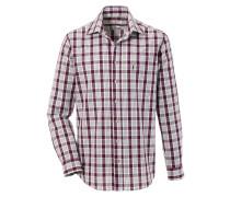 Trachtenhemd im Karodesign oliv / weinrot