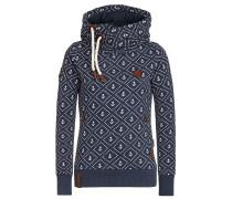 Kapuzensweatshirt dunkelblau / weiß