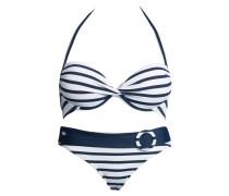 Bandeau-Bikini dunkelblau / weiß