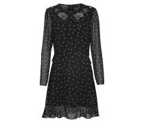Kleid 'china Crepe' schwarz / perlweiß