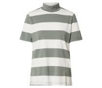 Pullover 'mock Str' grün / weiß
