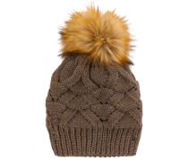 Mütze mit flauschigem Bommel braun