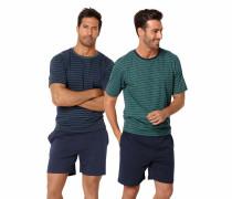 Herren Pyjamas kurz blau / grün