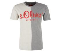 T-Shirt beige / grau / rot
