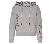 Sweatshirt mit Stickerei grau / rosé