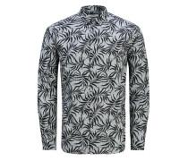 Blumiges Langarmhemd grau / schwarz